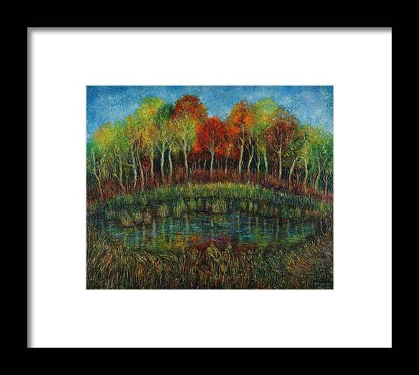 Landscape Framed Print featuring the painting Small Lake. by Evgenia Davidov