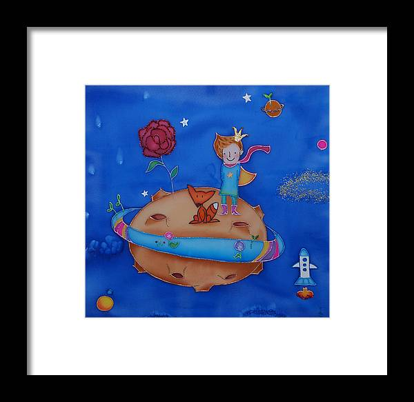 Space Framed Print featuring the painting Small Prince by Tatiana Antsiferova