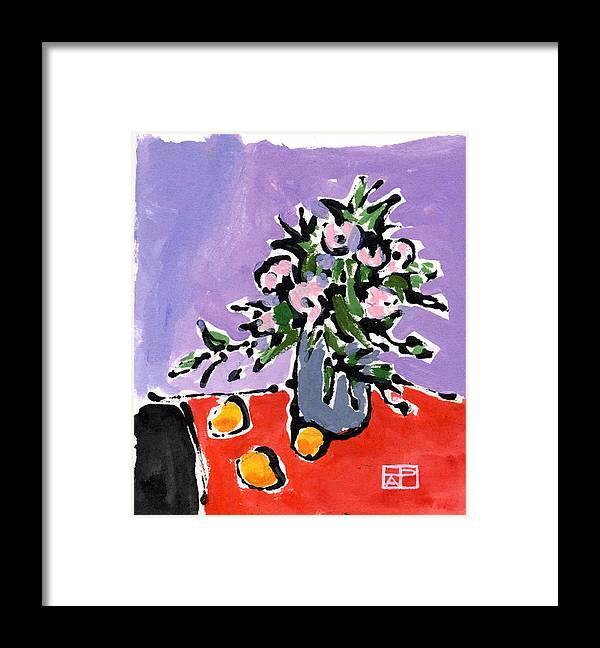 Still Life Design Framed Print featuring the painting Small Still Life by Helen Pisarek