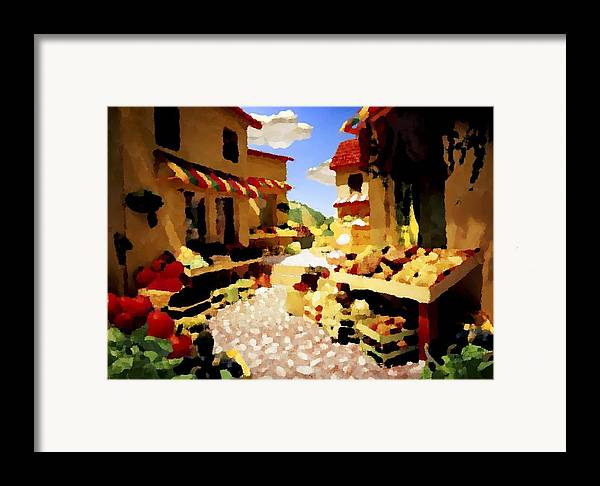 Market.town.street.road.houses.shadow.things For Sale.heat.rest.silence. Framed Print featuring the digital art small urban market on Capri island by Dr Loifer Vladimir