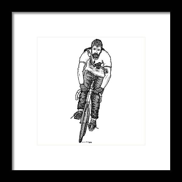 Drawing Framed Print featuring the drawing Smashing Bike Messenger by Karl Addison