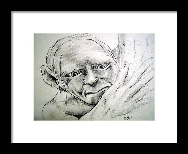 Portraits Framed Print featuring the drawing Smeggle by Lilly King