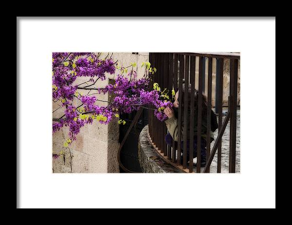 Girl Framed Print featuring the photograph Smelling The Flowers by Obi Martinez