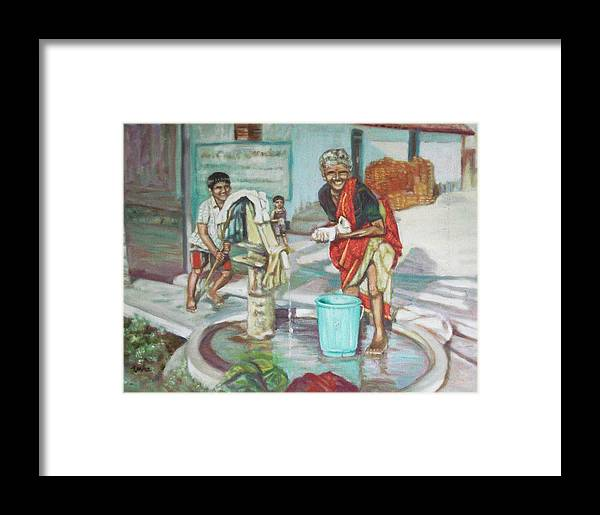 Usha Framed Print featuring the painting Smile Plz by Usha Shantharam