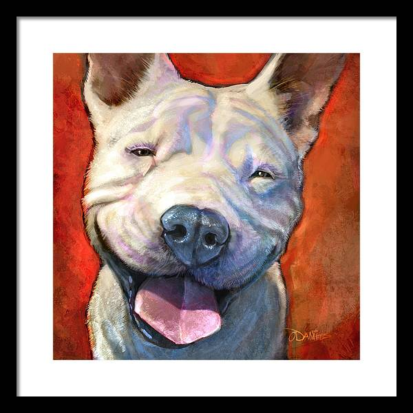 Dogs Framed Print featuring the painting Smile by Sean ODaniels