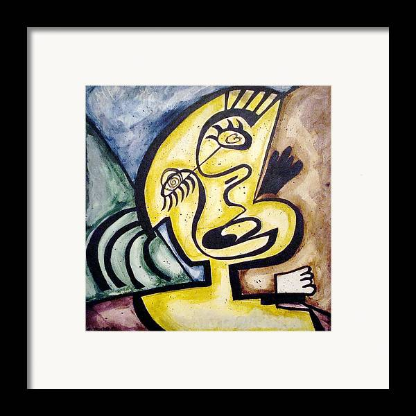 Abstract Faces Framed Print featuring the painting Smile by W Todd Durrance