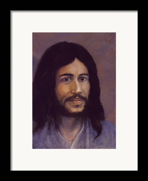 Jesus Framed Print featuring the painting Smiling Jesus by Miriam A Kilmer