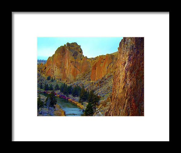 Smith Rock Oregon Framed Print featuring the photograph Smith Rock hiking by Lisa Rose Musselwhite