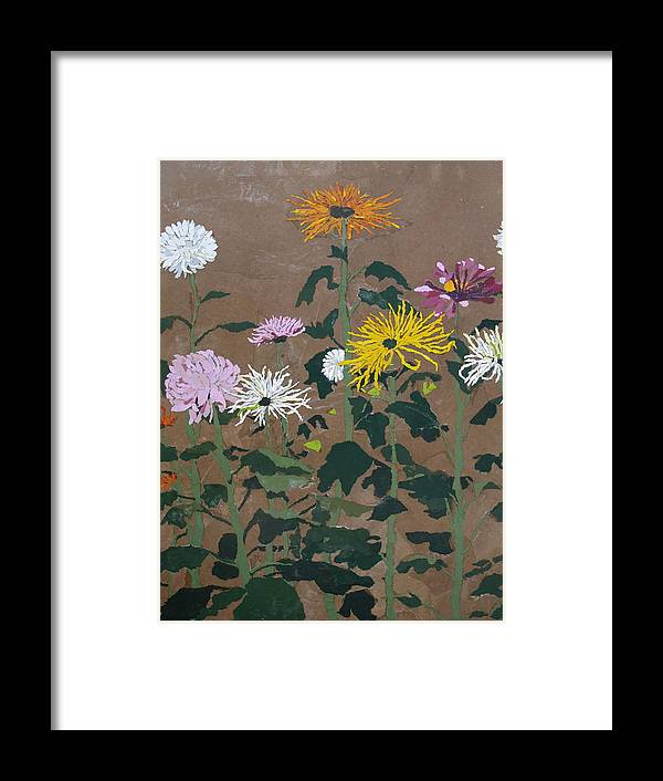 Collage Framed Print featuring the painting Smith's Giant Chrysanthemums by Leah Tomaino