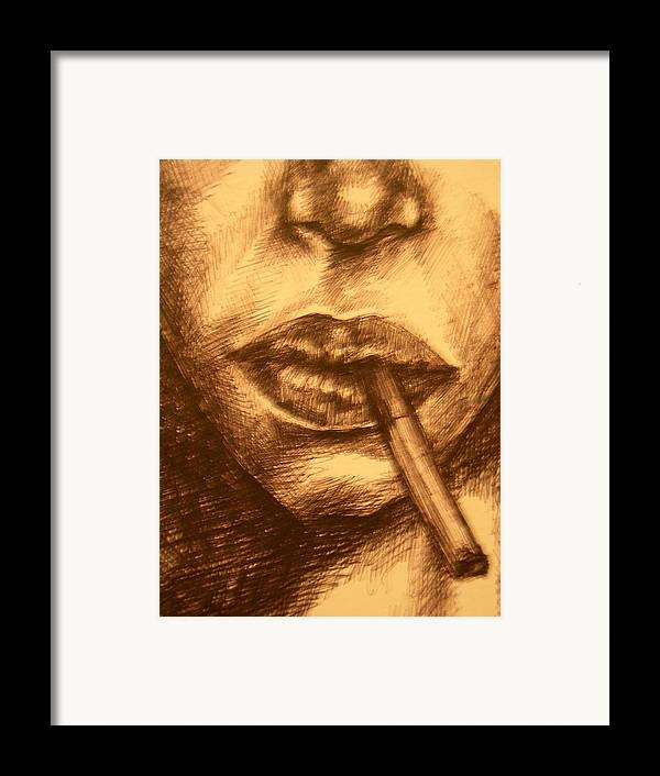 Smoking Framed Print featuring the drawing Smoke Break by J Oriel