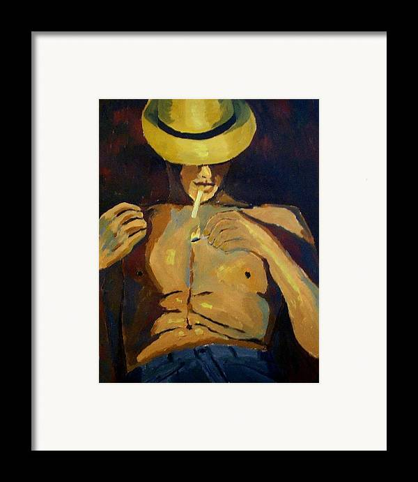 Portrait Framed Print featuring the painting Smoke Break by Mats Eriksson