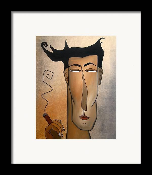 Fidostudio Framed Print featuring the painting Smoke Break by Tom Fedro - Fidostudio
