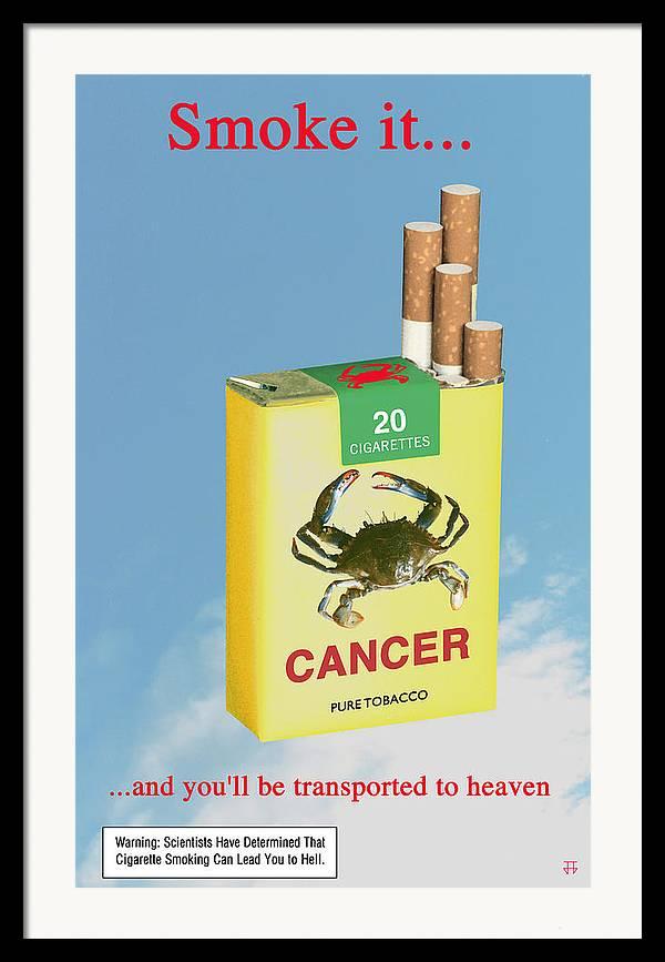 Anti-smoking Posters Framed Print featuring the digital art Smoke It... by Jose Gomis