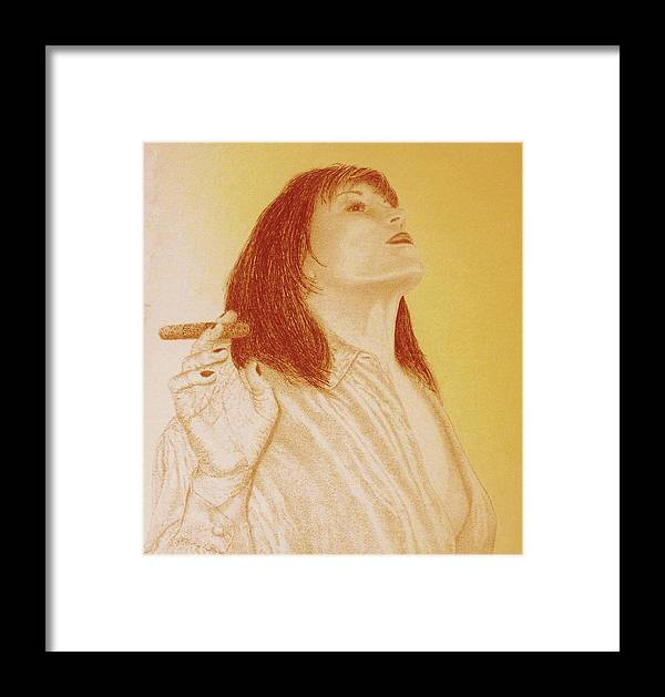 Female Woman Women Smoke Sexy Cigar Framed Print featuring the drawing Smoke N Fire by Tony Ruggiero