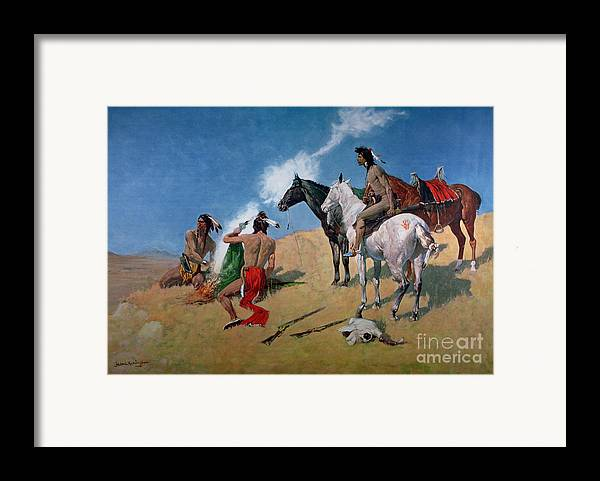 Smoke Signals (oil On Canvas) By Frederic Remington (1861-1909) Remington Framed Print featuring the painting Smoke Signals by Frederic Remington