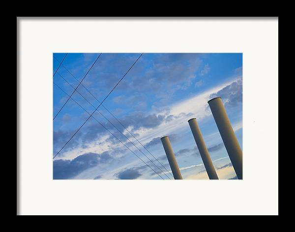 Blue Framed Print featuring the photograph Smoke Stax by Skip Hunt
