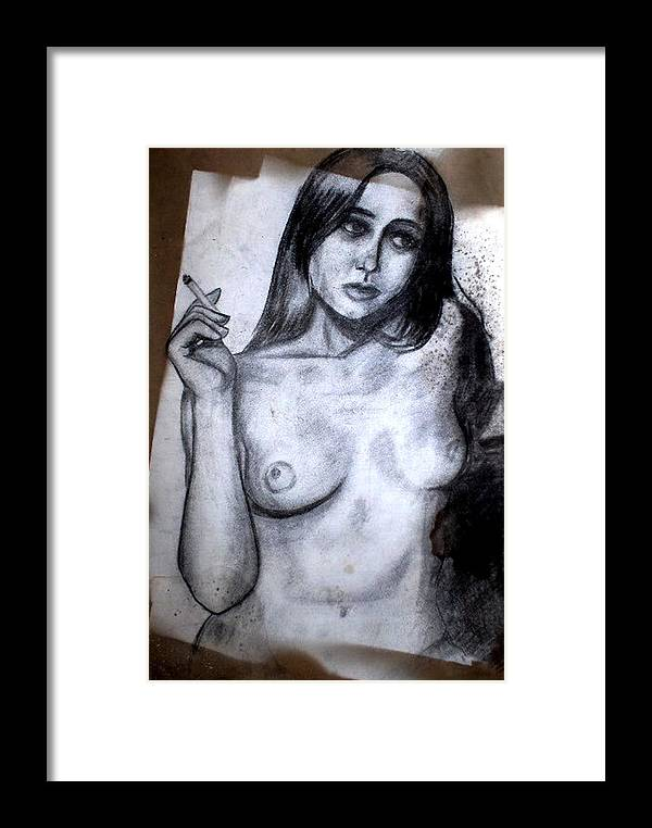 Nude Framed Print featuring the drawing Smoker by Thomas Valentine