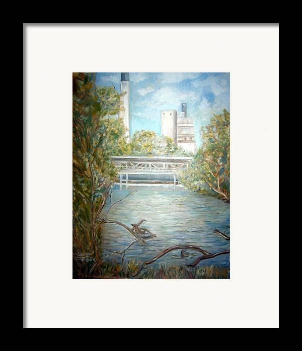 Landscape River Factory Ducks Framed Print featuring the painting Smokestack by Joseph Sandora Jr