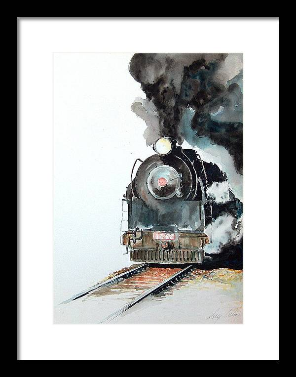 Trains Framed Print featuring the painting Smokin by Greg Clibon