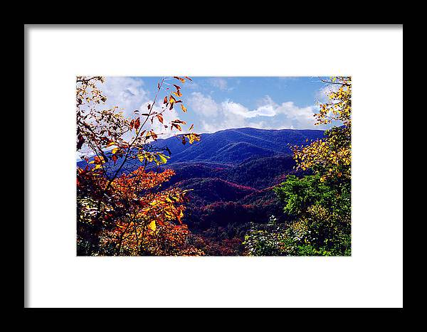Mountain Framed Print featuring the photograph Smoky Mountain Autumn View by Nancy Mueller
