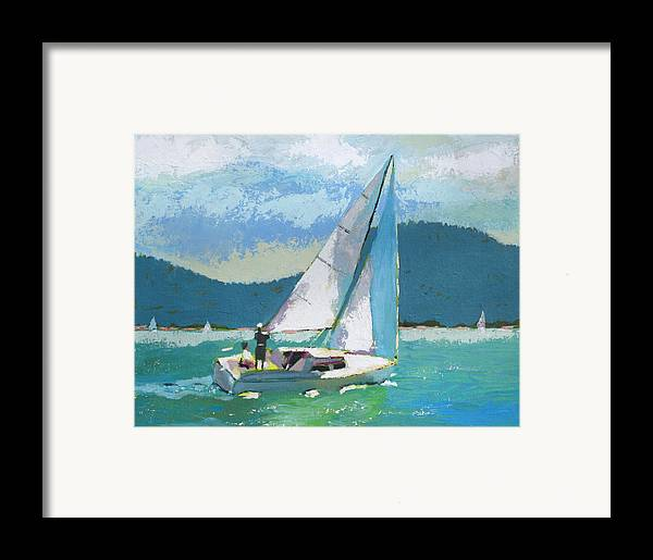 Boat Framed Print featuring the painting Smooth Sailing by Robert Bissett