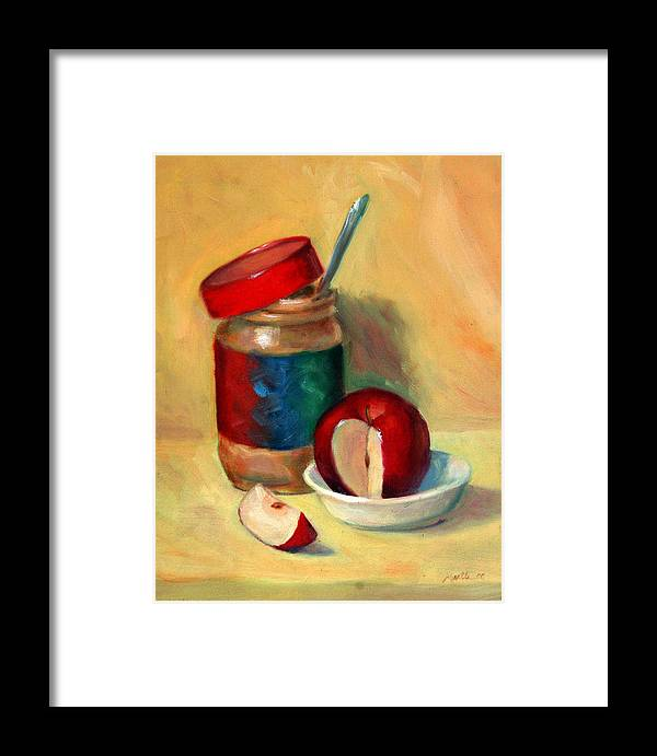 Peanut Butter Framed Print featuring the painting Snack Time by Athena Mantle