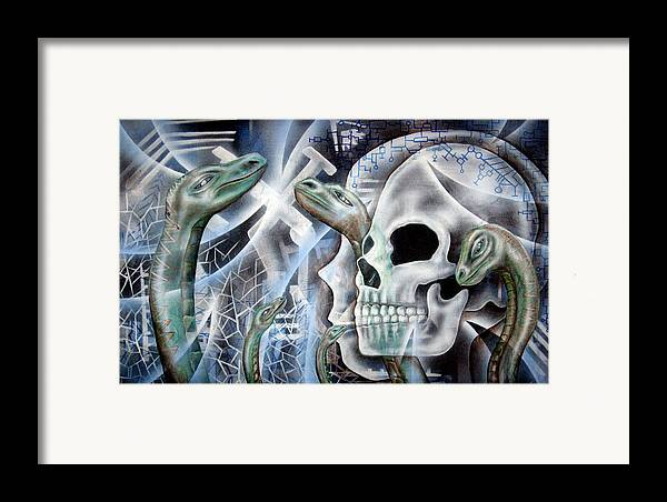 Snake  Framed Print featuring the painting Snake Creation by Leigh Odom