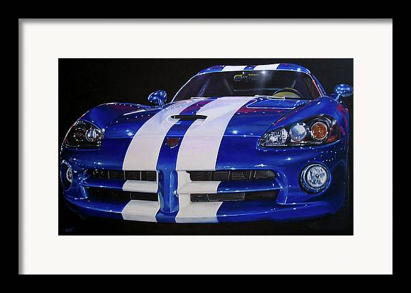 Car Framed Print featuring the painting Snake Eyes by Lynn Masters