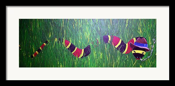 Coral Snake Framed Print featuring the painting Snake In The Grass by Sharon Supplee