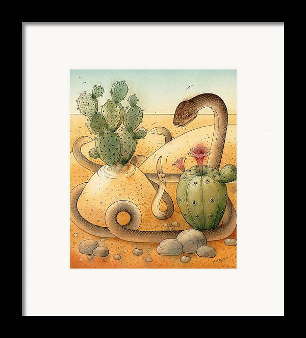 Snake Landscape Sky Cactus Framed Print featuring the painting Snake by Kestutis Kasparavicius