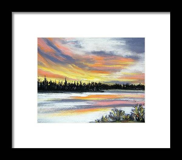 Sunset Framed Print featuring the pastel Snake River Sunset by Gale Cochran-Smith