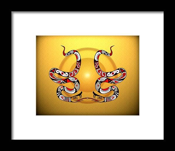Mata Ortiz Framed Print featuring the digital art Snakes Homage To Mata Ortiz by Tony Ramos