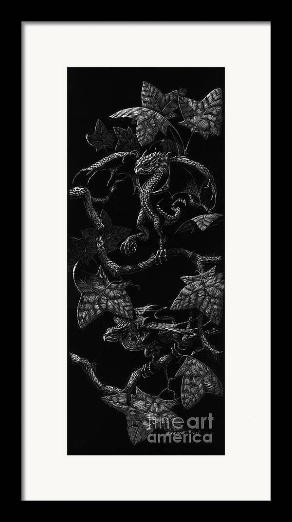 Dragon Framed Print featuring the drawing Snap Dragons by Stanley Morrison
