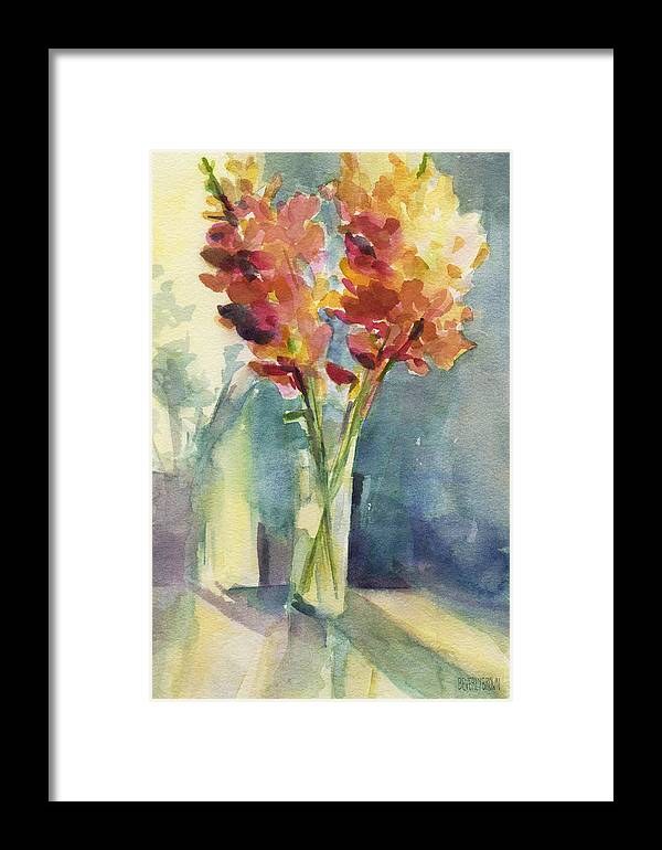 431a9ee91dd Floral Framed Print featuring the painting Snapdragons In Morning Light Floral  Watercolor by Beverly Brown