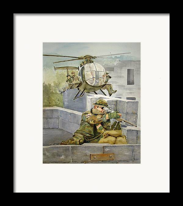 Soldier Framed Print featuring the painting Sniper Military Tribute by Kerra Lindsey