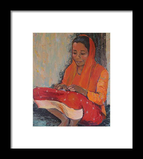 Art Nomad Framed Print featuring the painting Snipping Threads by Art Nomad Sandra Hansen