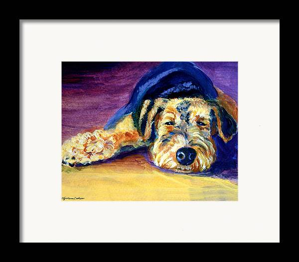 Airedale Terrier Framed Print featuring the painting Snooze Airedale Terrier by Lyn Cook