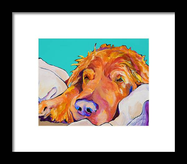 Dog Poortraits Framed Print featuring the painting Snoozer King by Pat Saunders-White