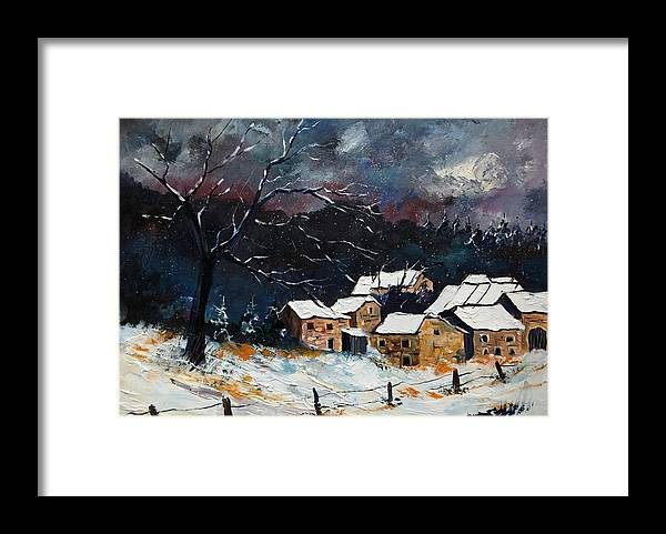 Snow Framed Print featuring the painting Snow 57 by Pol Ledent