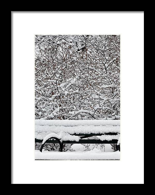 Snow Framed Print featuring the photograph Snow And Bench by Robert Ullmann