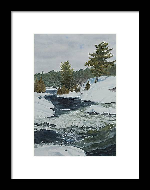 Snow Framed Print featuring the painting Snow And Islands by Debbie Homewood