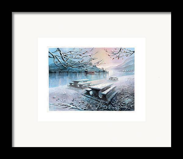Landscape Framed Print featuring the painting Snow Blanket by Dumitru Barliga
