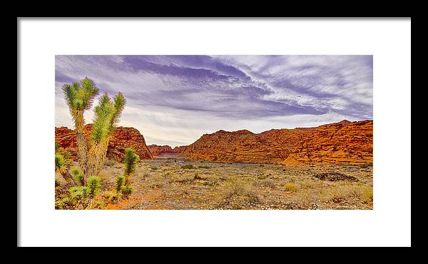 Utah Framed Print featuring the digital art Snow Canyon by Ches Black