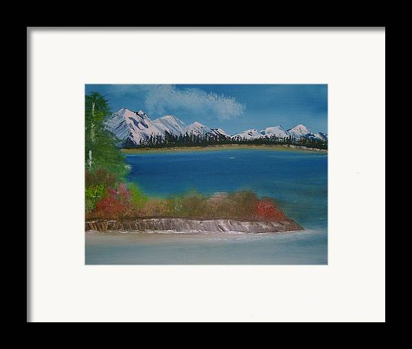 Mountains Framed Print featuring the painting Snow Capped Mountains by Dottie Briggs