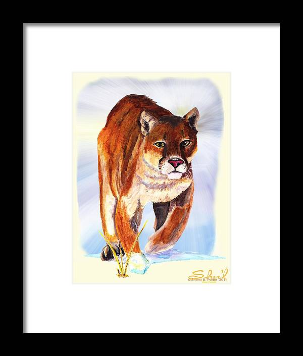 : Wildlife Framed Print featuring the painting Snow Cougar by Sherril Porter