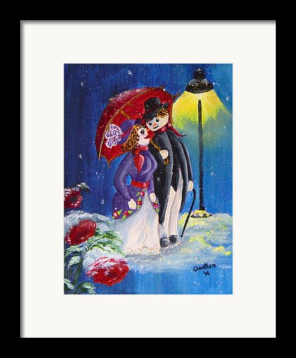 Snow Framed Print featuring the painting Snow Couple by Quwatha Valentine