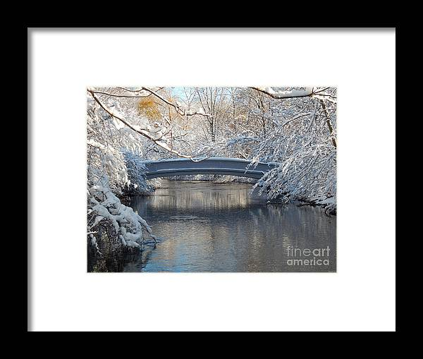Snow Framed Print featuring the photograph Snow Covered Bridge by Phil Perkins