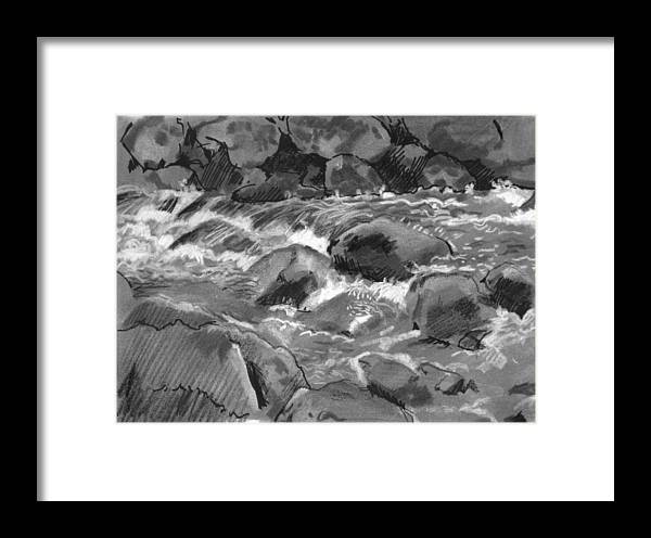 Creek Framed Print featuring the drawing Snow Creek In Spring by Robert Bissett