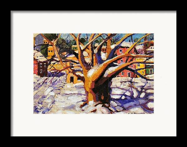 Urban Framed Print featuring the painting Snow Day by Jonathan Carter