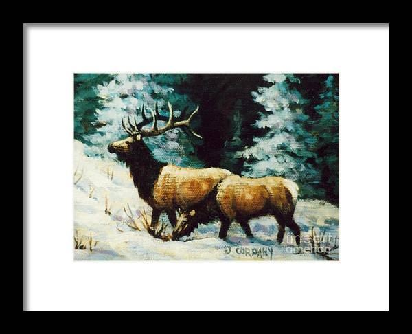 Elk Framed Print featuring the painting Snow Elk by JoAnne Corpany